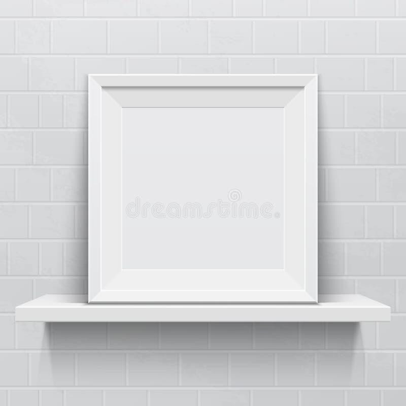 Marco realista en el estante realista blanco ilustración del vector