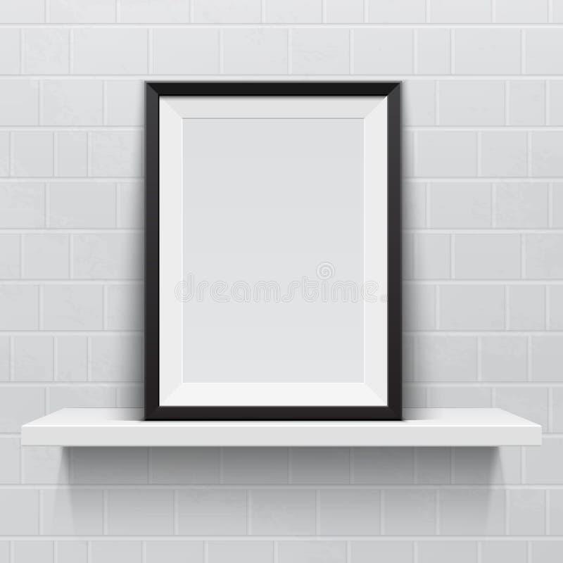 Marco realista en el estante realista blanco, stock de ilustración