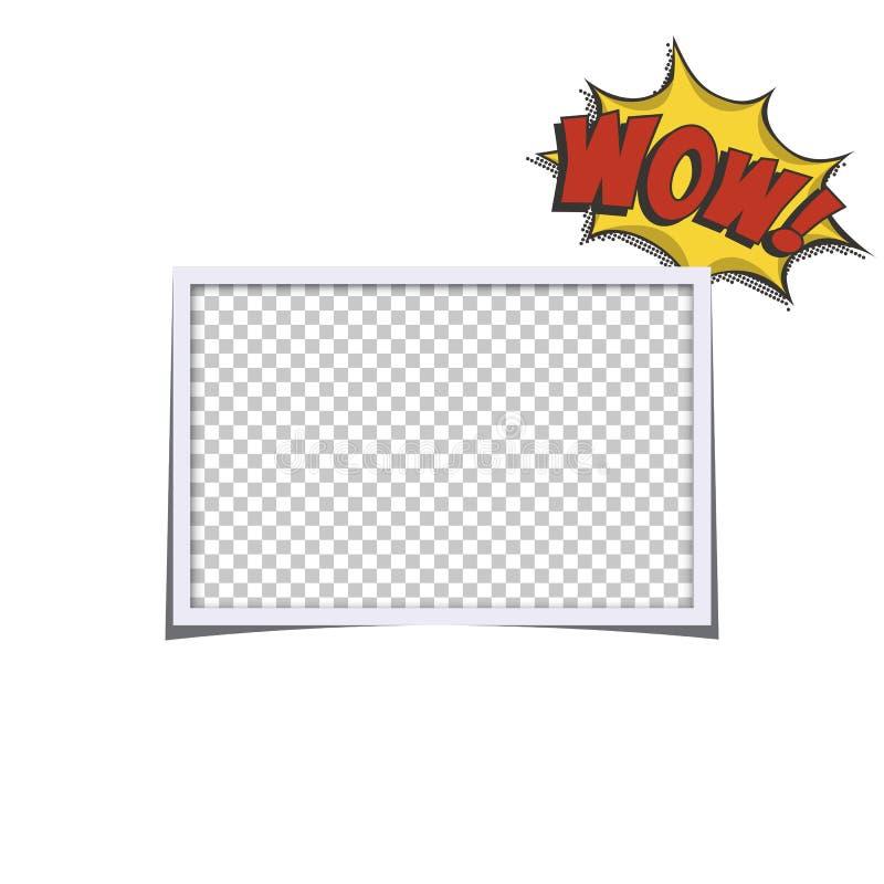 Marco realista retro de la foto con la burbuja del discurso del wow aislada en el fondo blanco Plantilla del diseño de la foto de libre illustration