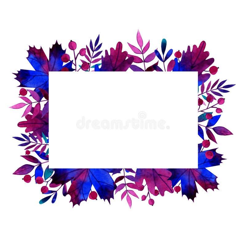 Marco rectangular de color de agua de hojas y bayas de otoño imagen de archivo libre de regalías