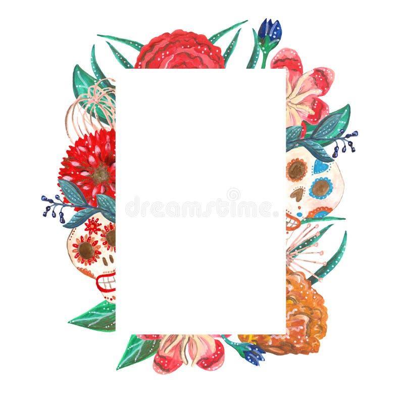 Marco rectangular de las flores tropicales y mexicanas brillantes del aguazo stock de ilustración