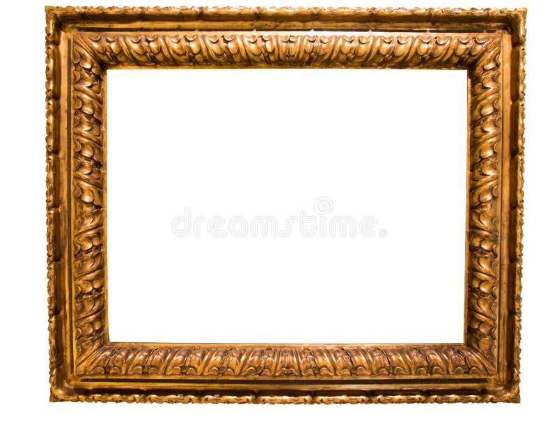 Marco rectangular de oro retro para la fotograf?a en fondo aislado foto de archivo libre de regalías
