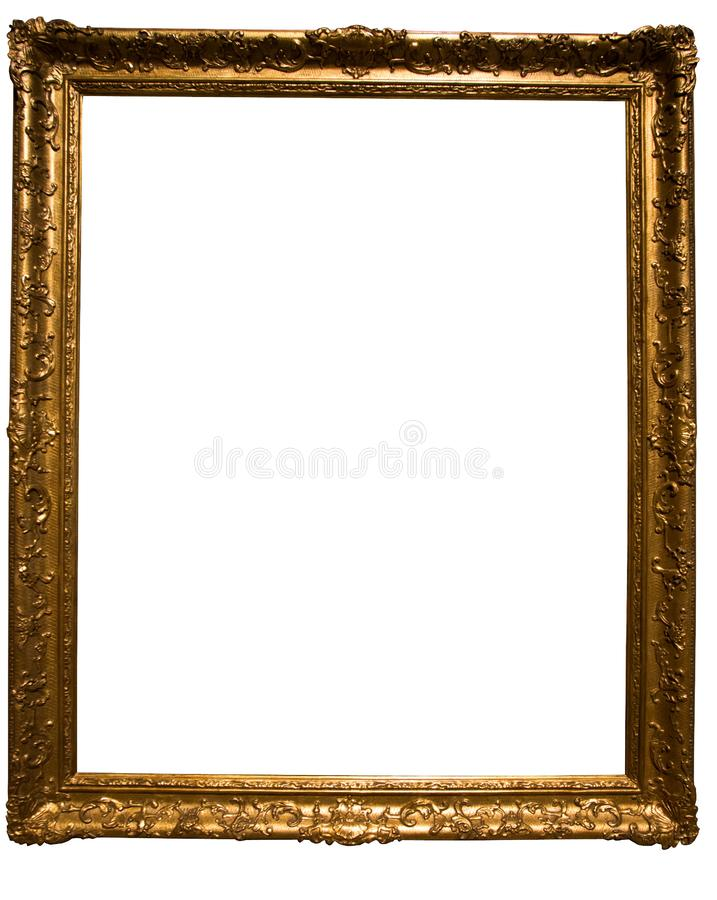 Marco rectangular de oro retro para la fotograf?a en fondo aislado fotografía de archivo
