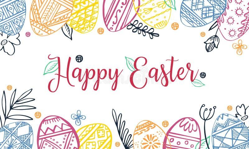 Marco rectangular del color de los huevos de Pascua con las plantas y el saludo Ejemplo exhausto del bosquejo del vector de la ti libre illustration