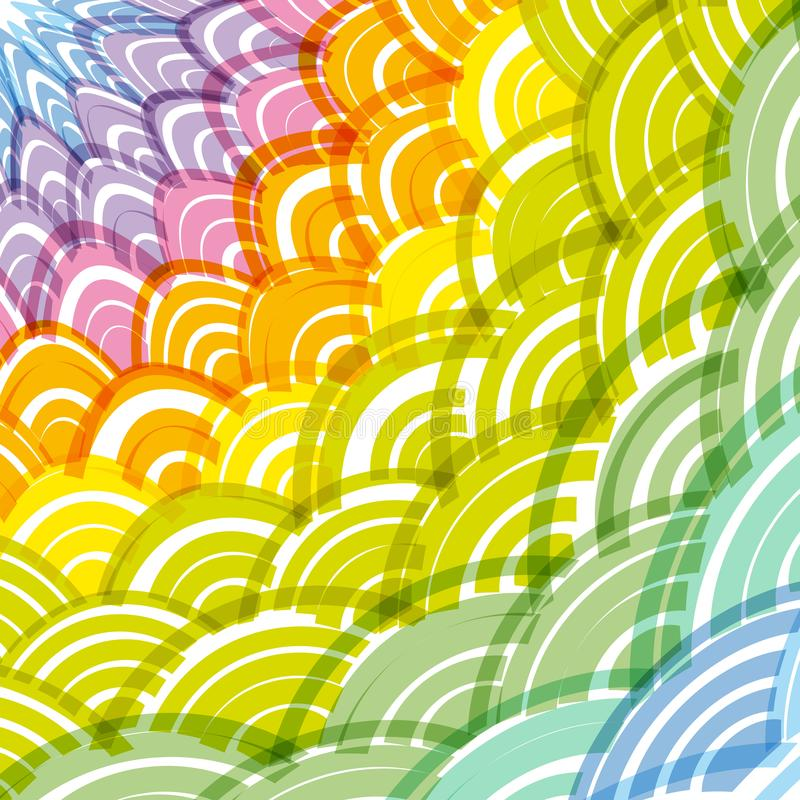 Marco redondo abstracto del arco iris de la composición de la guirnalda fondo simple del arco iris de la naturaleza con el verde  libre illustration