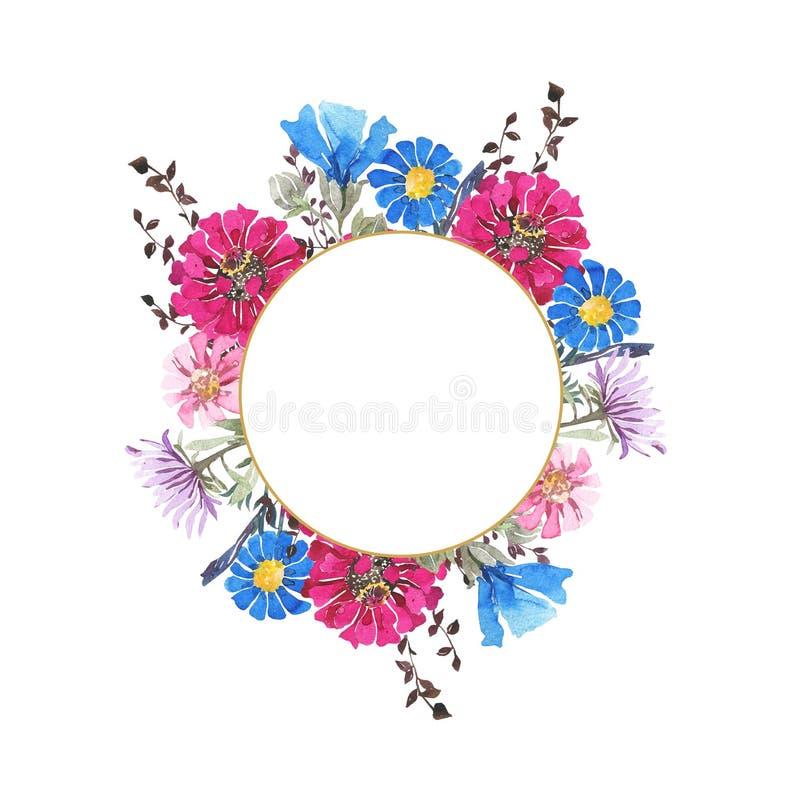 Marco redondo botánico de la acuarela Flores salvajes del resorte Ramo brillante multicolor ilustración del vector