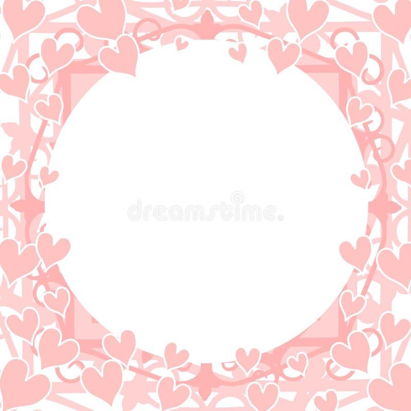 Marco redondo circular de los corazones rosas claros