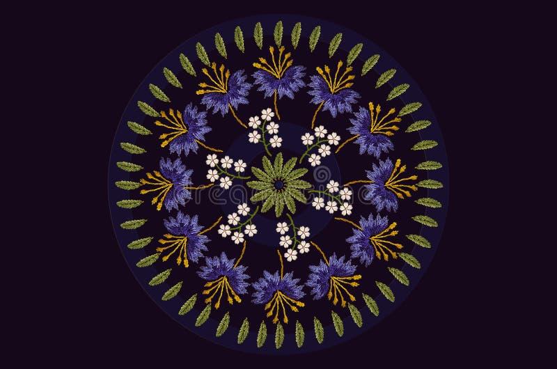 Marco redondo con el modelo para la guirnalda del bordado de la hoja con acianos púrpuras y flores blancas delicadas en fondo neg ilustración del vector
