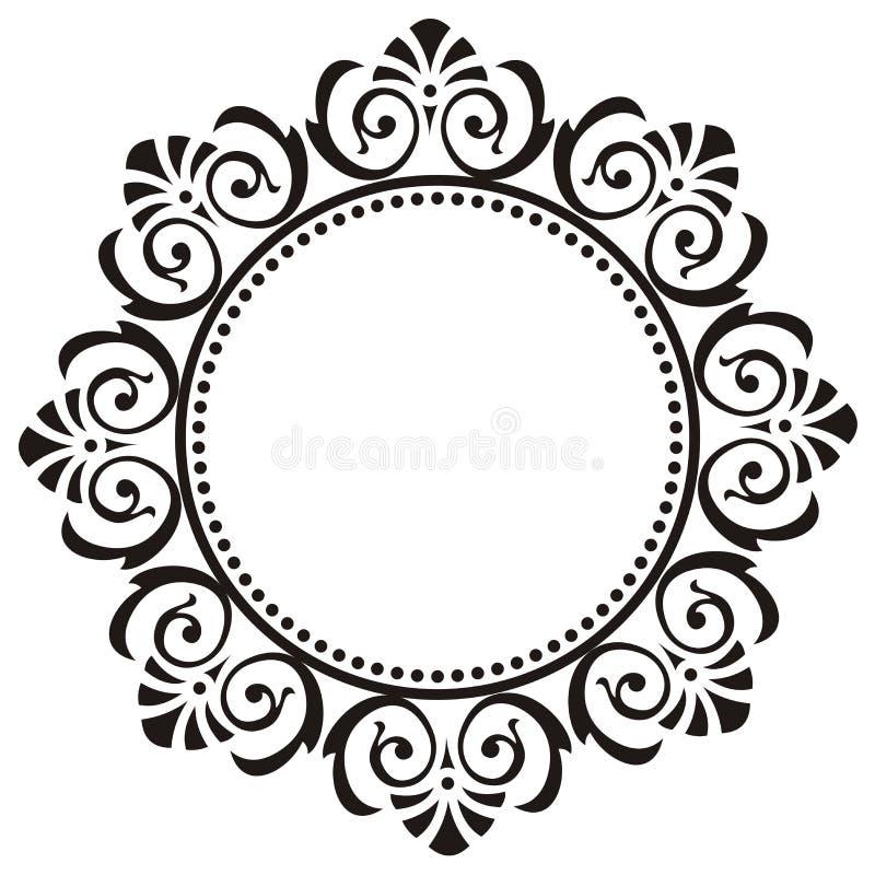 Marco redondo con el ornamento floral imágenes de archivo libres de regalías