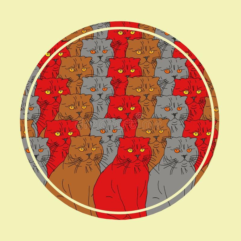 Marco redondo con gatos coloridos Puede ser utilizado para las postales, impresión de la tela, cartel Estilo de la historieta fotos de archivo