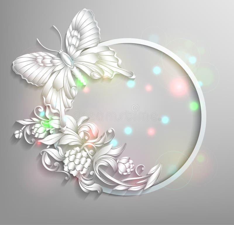Marco redondo con la mariposa ilustración del vector