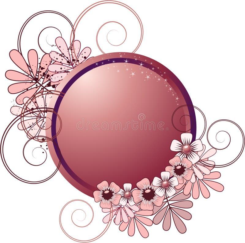 Marco redondo con las flores ilustración del vector