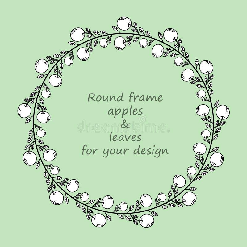 Marco redondo con las manzanas y las hojas blancos y negros del garabato libre illustration