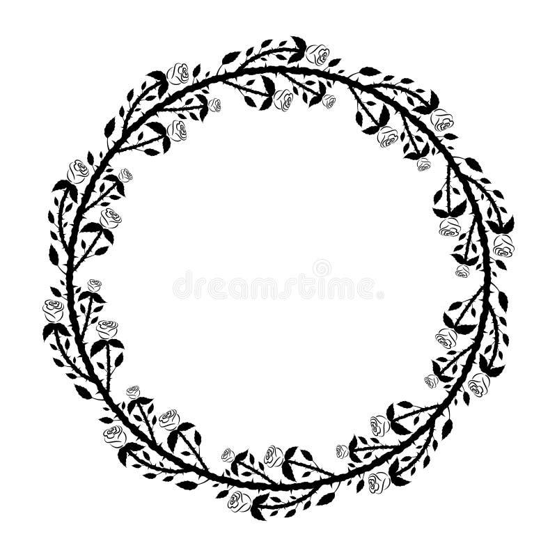 Marco redondo con las rosas y las espinas negras libre illustration