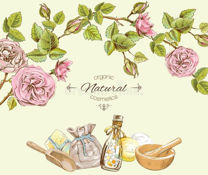 Marco redondo cosmético natural de Rose Diseñe para los productos del salón de belleza de los cosméticos, naturales y orgánicos libre illustration