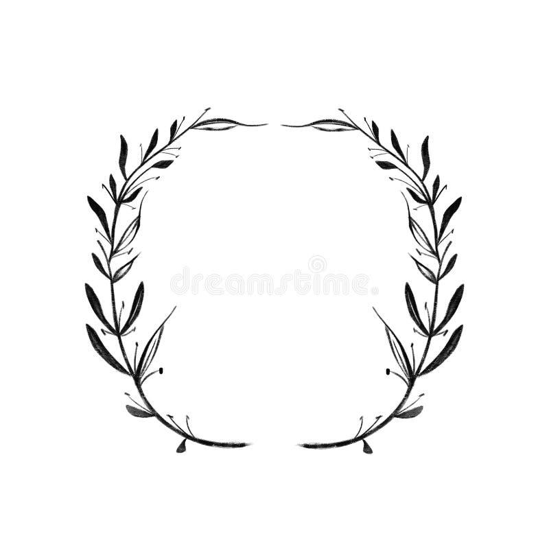 Marco redondo de dos ramas con las hojas Manija gr?fica negra del modelo Aislado en el fondo blanco libre illustration