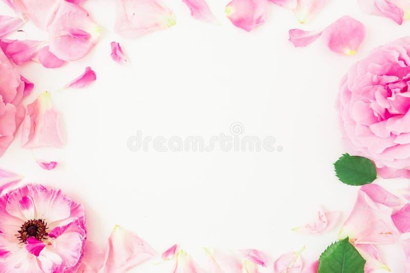 Marco redondo de flores, de pétalos y de hojas rosados en el fondo blanco Composición floral de la forma de vida Endecha plana, v fotos de archivo libres de regalías