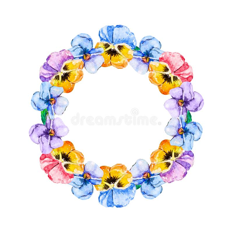 Marco redondo de la acuarela de los ramos de pensamientos violetas de colores rosados, violetas, azules y amarillos en un fondo b stock de ilustración