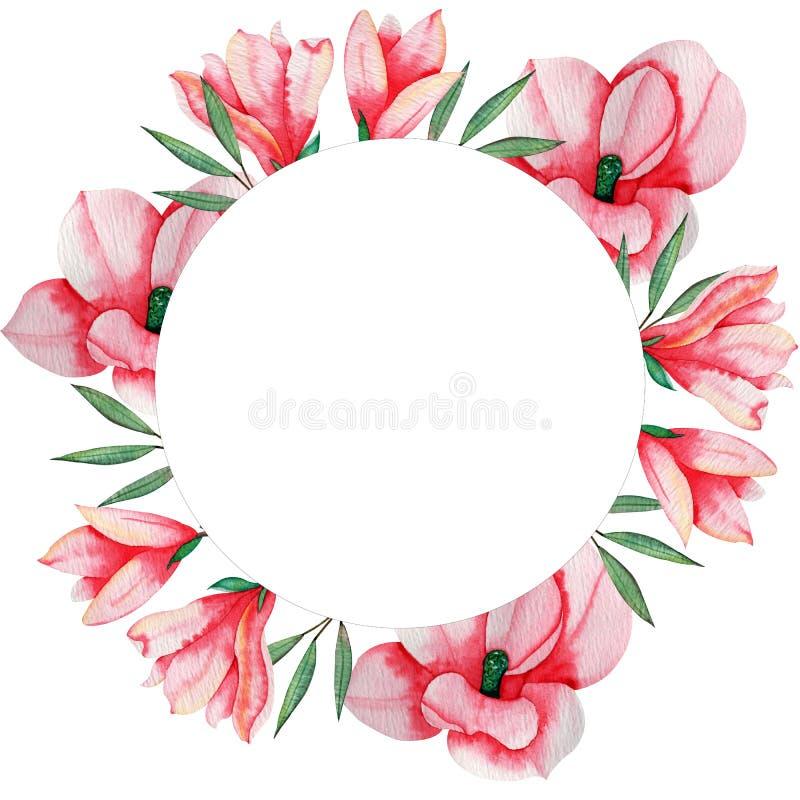 Marco redondo de la acuarela de la mano de las flores exhaustas de la magnolia para la fabricación, el papel, la materia textil y stock de ilustración