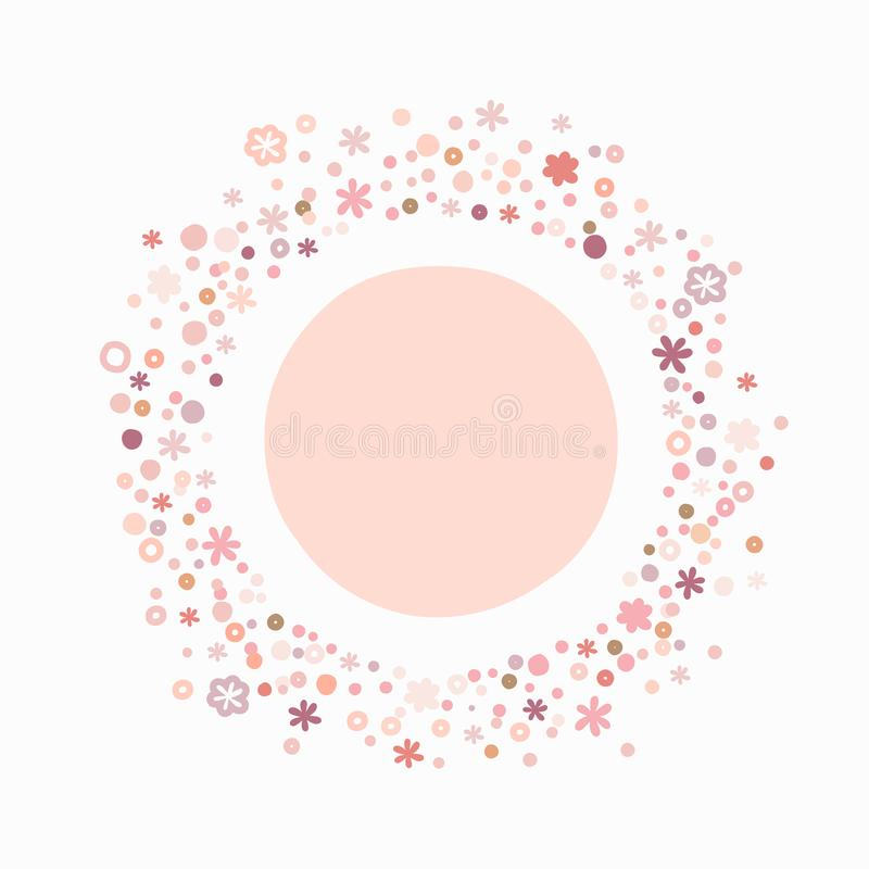 Marco redondo de la burbuja linda con las flores y los puntos para el texto Vector colorido libre illustration