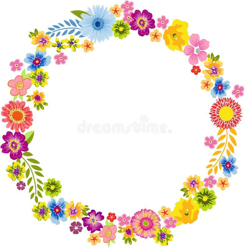 Marco redondo de la flor de la primavera ilustración del vector