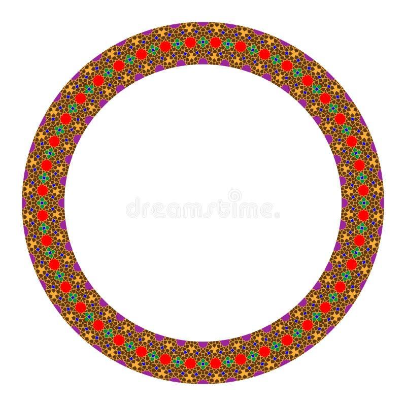 Marco redondo de la frontera del círculo del ornamento colorido islámico del este Líneas de colocación con las estrellas Ilustrac libre illustration