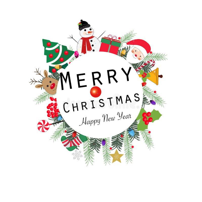 Marco redondo de la guirnalda del texto `` de la Feliz Navidad y de la Feliz Año Nuevo `` Bombilla colorida de saludo de la Feliz stock de ilustración