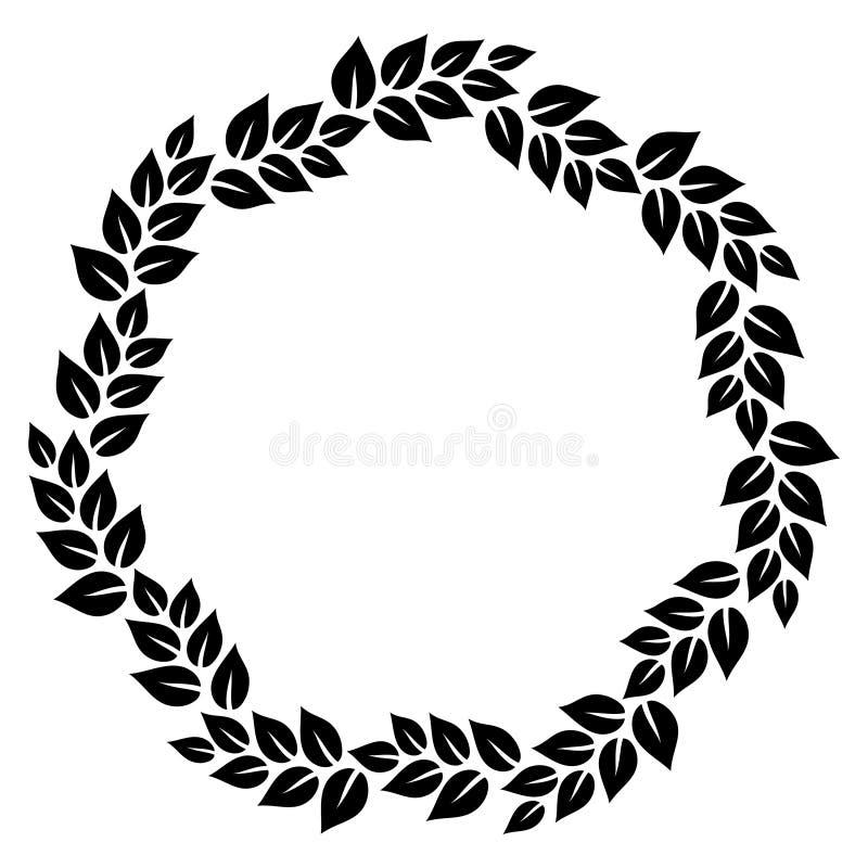 Marco redondo de la guirnalda floral elegante blanco y negro de las hojas, vector ilustración del vector
