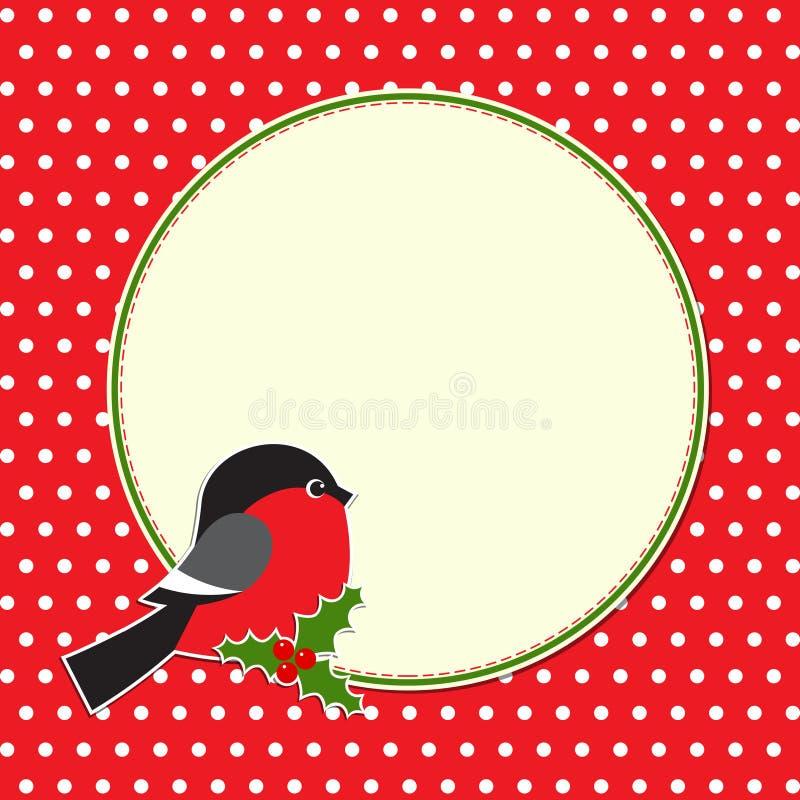 Marco redondo de la Navidad con el bullfinch libre illustration