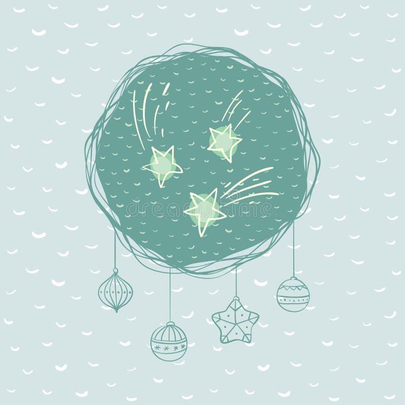 Marco redondo de la Navidad y del Año Nuevo con símbolo de la estrella Tarjeta de felicitación libre illustration