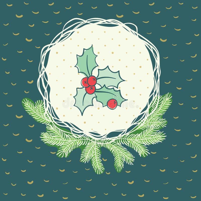 Marco redondo de la Navidad y del Año Nuevo con símbolo de la rama del acebo Tarjeta de felicitación ilustración del vector