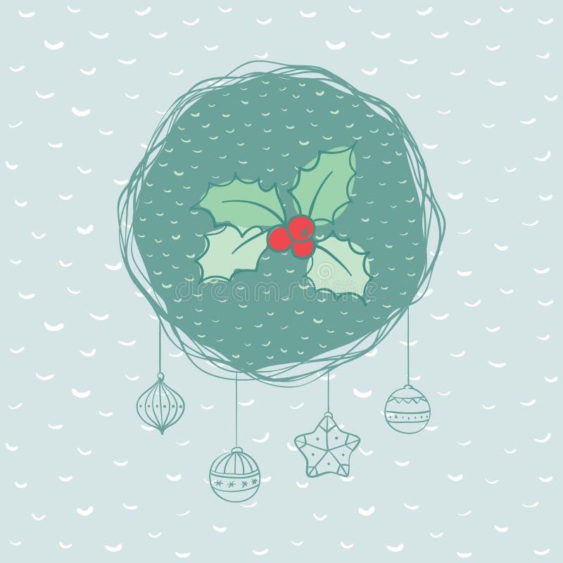 Marco redondo de la Navidad y del Año Nuevo con símbolo de la rama del acebo Tarjeta de felicitación stock de ilustración