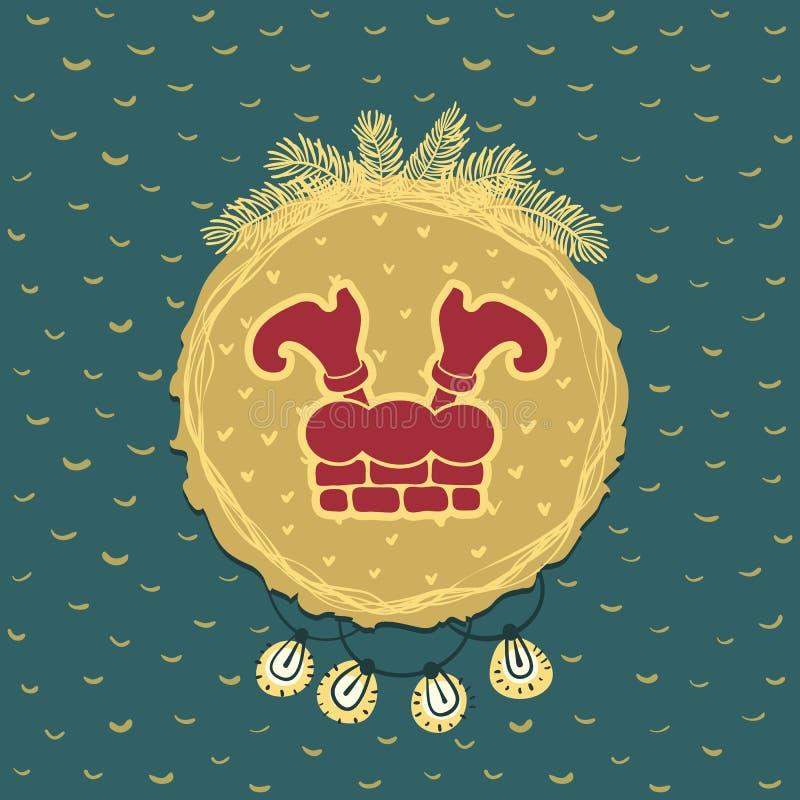 Marco redondo de la Navidad y del Año Nuevo con símbolo de las piernas de Santa Claus Tarjeta de felicitación ilustración del vector
