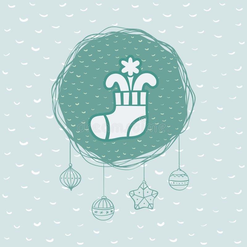 Marco redondo de la Navidad y del Año Nuevo con símbolo de media Tarjeta de felicitación libre illustration