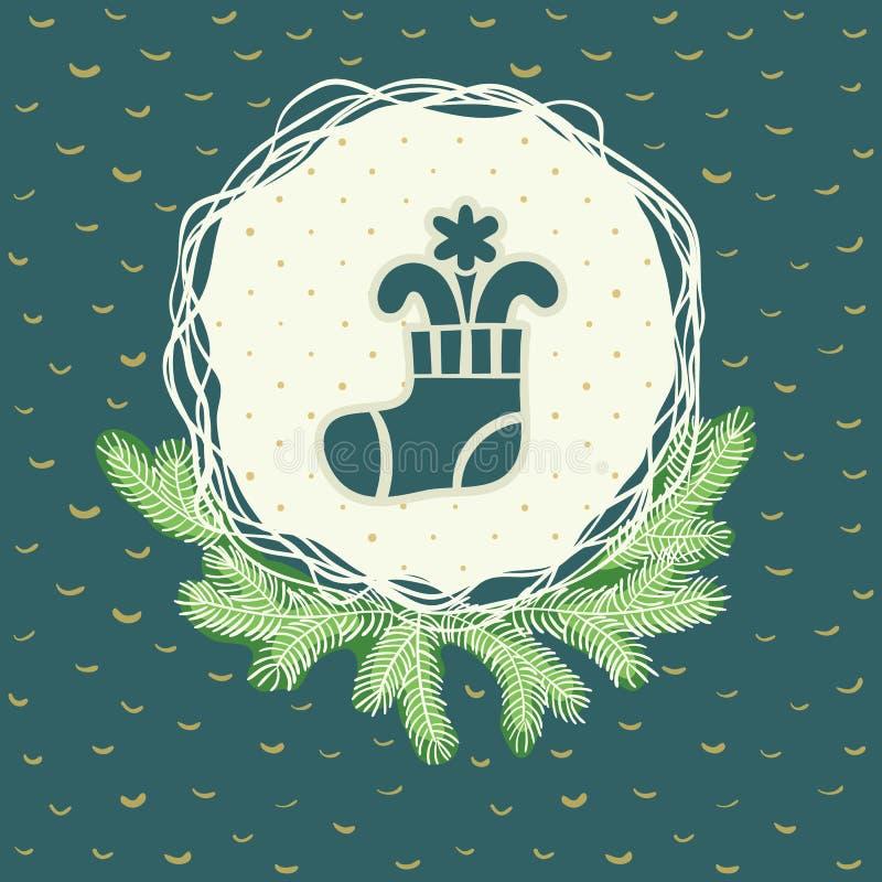 Marco redondo de la Navidad y del Año Nuevo con símbolo de media Tarjeta de felicitación ilustración del vector