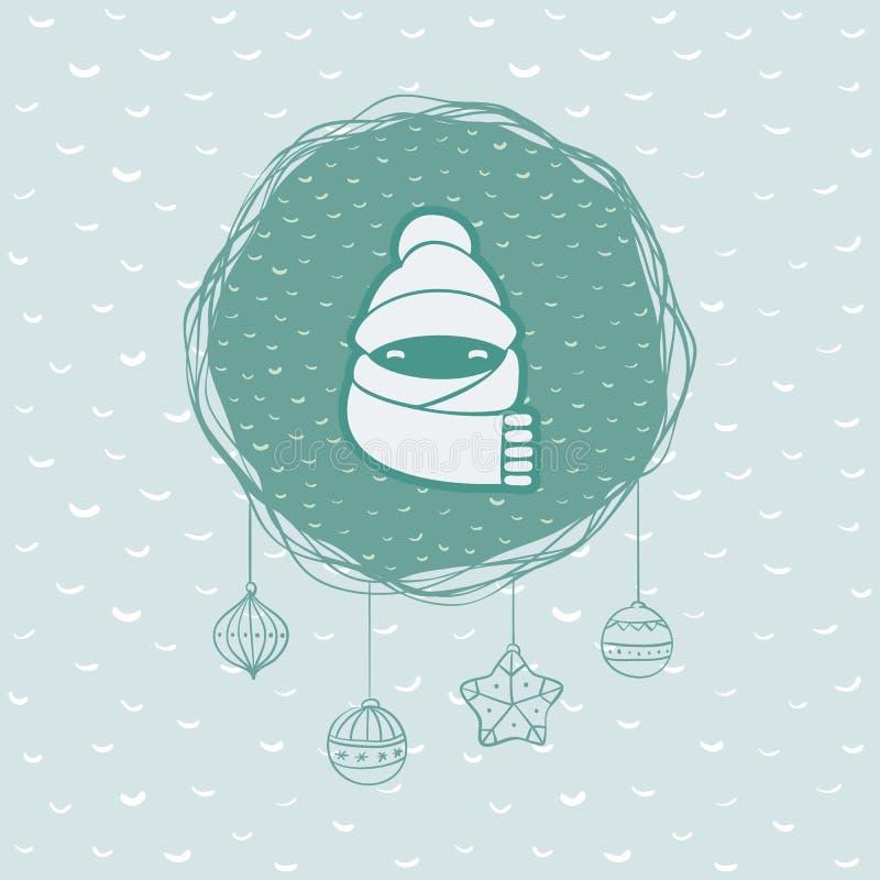 Marco redondo de la Navidad y del Año Nuevo con símbolo del niño Tarjeta de felicitación stock de ilustración