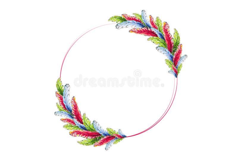 Marco redondo de las plumas brillantes de la acuarela en un fondo blanco stock de ilustración