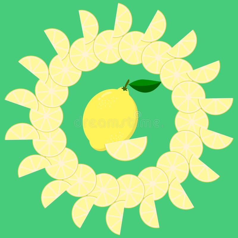 Marco redondo de las rebanadas del limón en el centro de limón libre illustration