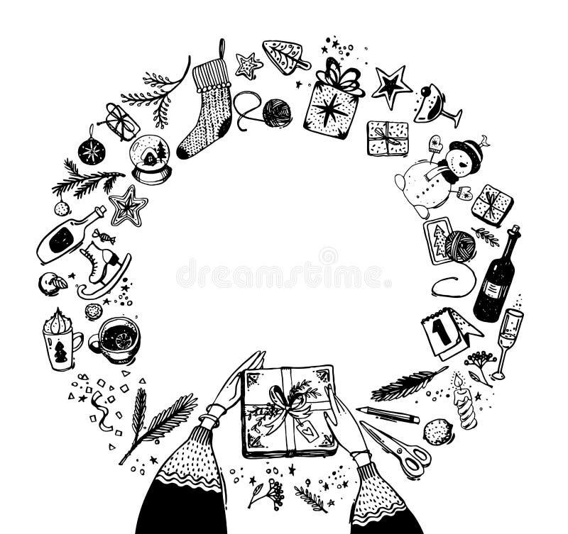 Marco redondo de los elementos de la Navidad y del Año Nuevo Garabatee el bosquejo, dibujo de la mano ilustración del vector