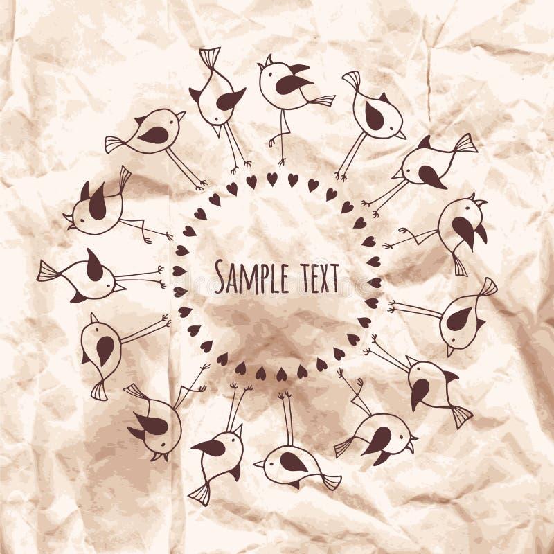Marco redondo de pájaros lindos con el espacio para el texto en Kraft arrugado ilustración del vector