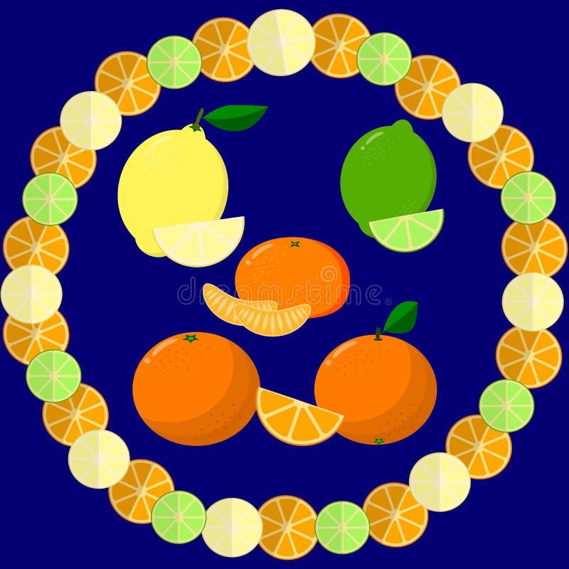 Marco redondo de rebanadas de naranja, de cal y de limón en un fondo oscuro ilustración del vector