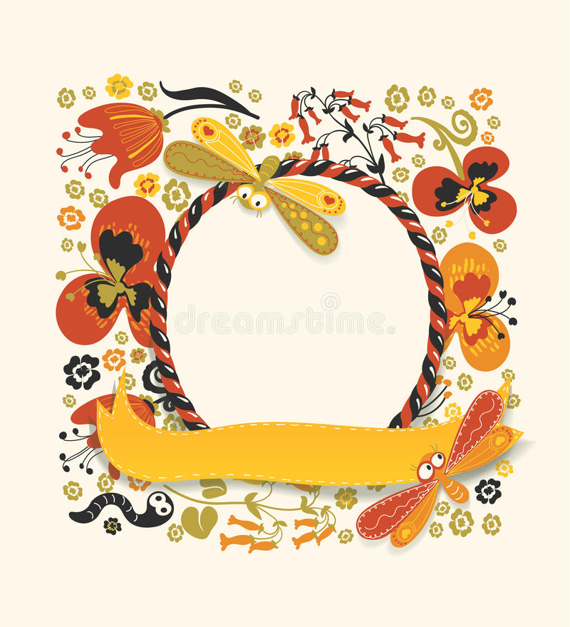 Marco redondo decorativo hecho del bastón de caramelo y de la cinta amarilla stock de ilustración