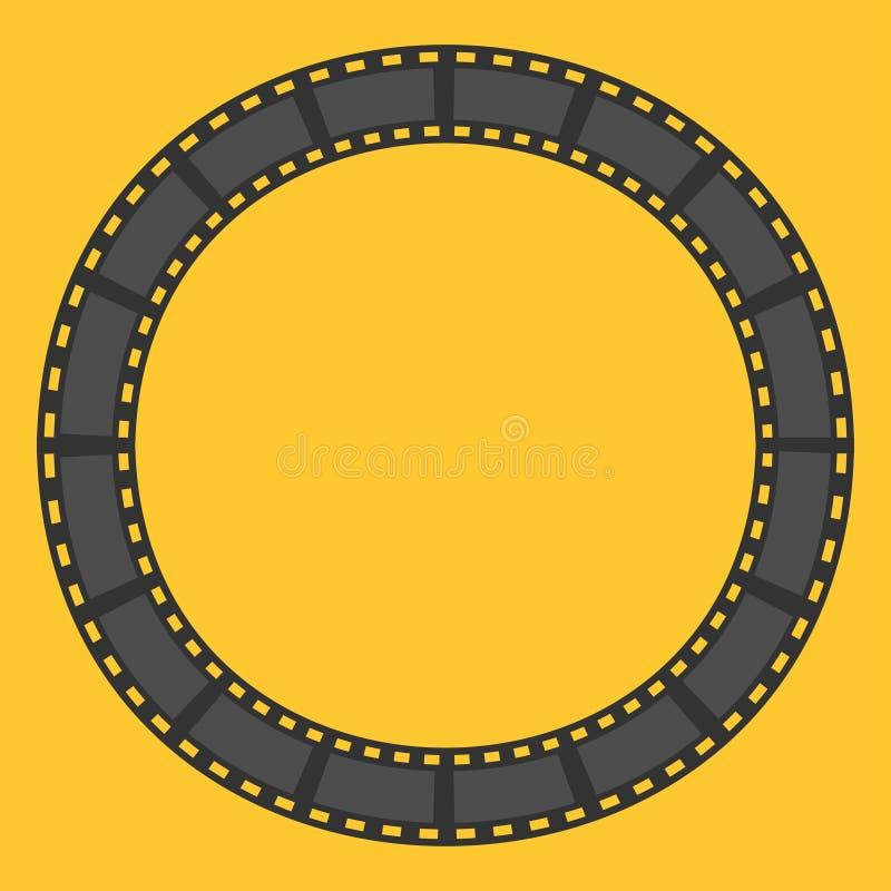 Marco redondo del círculo de la tira de la película modelo Elemento del diseño Fondo amarillo Diseño plano stock de ilustración
