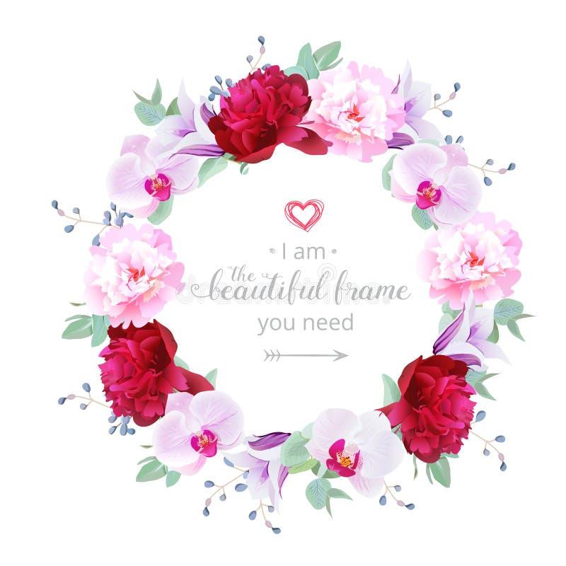 Marco redondo del diseño floral romántico hermoso del vector stock de ilustración