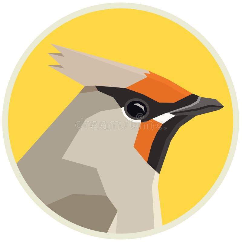 Marco redondo del ejemplo del vector de la colección de los pájaros del waxwing bohemio stock de ilustración