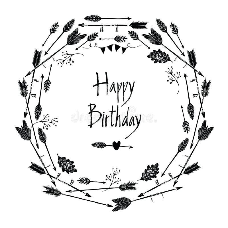 Marco redondo del feliz cumpleaños de flechas y de hojas stock de ilustración