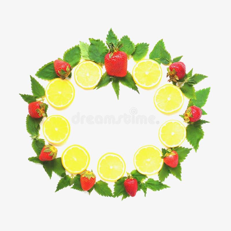 Marco redondo del limón, de la menta y de la fresa fotos de archivo