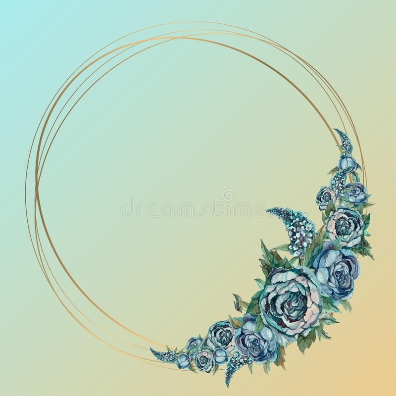 Marco redondo del oro con las flores de la acuarela Ramo de la turquesa de flores libre illustration