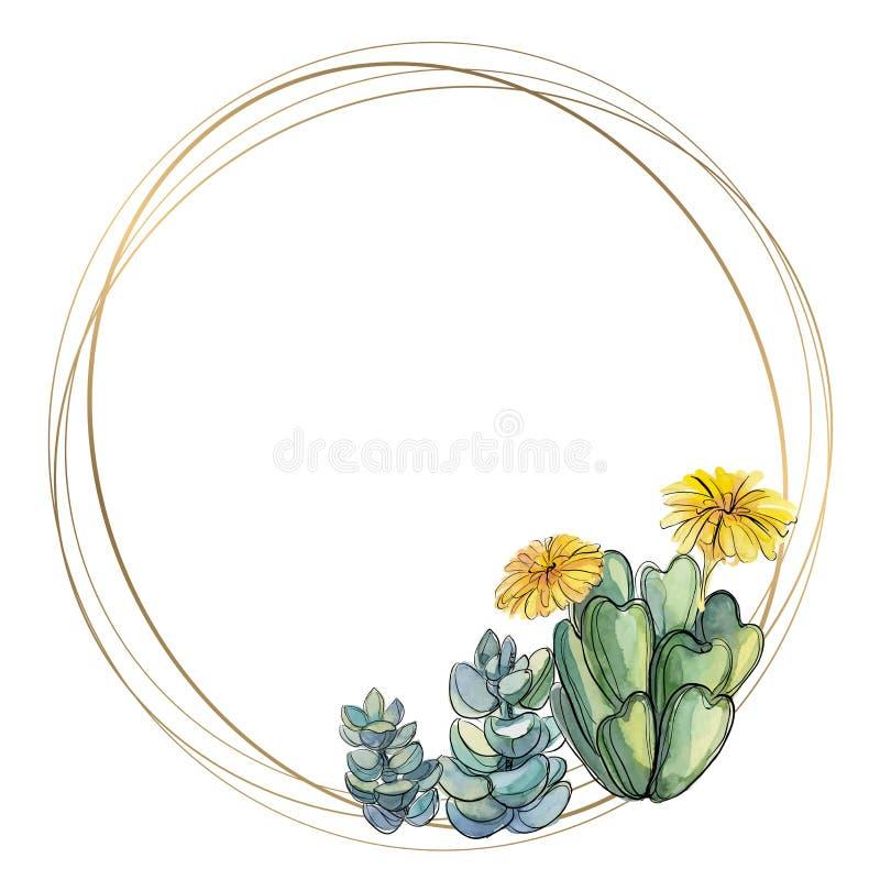 Marco redondo del oro con los succulents watercolor Vector stock de ilustración