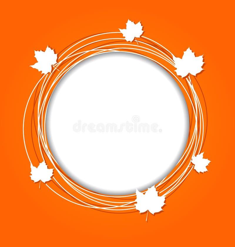 Marco redondo del otoño con el arce de las hojas para el canadiense  ilustración del vector